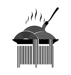 Barcode pasta Dish with spaghetti and fork Hot vector image