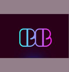 Bb b b pink line alphabet letter combination logo vector