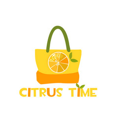 beach bag with citrus print and inscription vector image