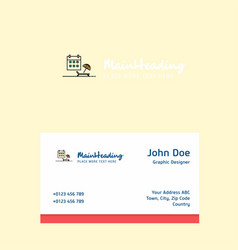 beach logo design with business card template vector image