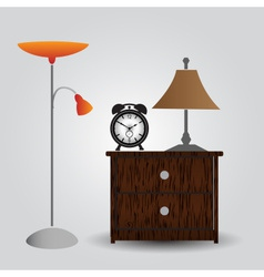 Bedroom bedside table and alarm clock eps10 vector