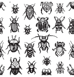 Beeetles and bugs design for paper or textile Ink vector
