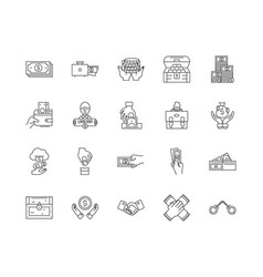 Bribery and corruption line icons signs vector