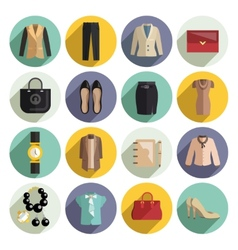 Business Woman Clothes Icons Set vector image