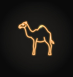 camel animal icon in glowing neon style vector image