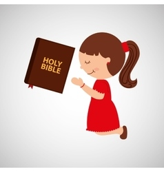 cartoon girl praying with holy bible design vector image