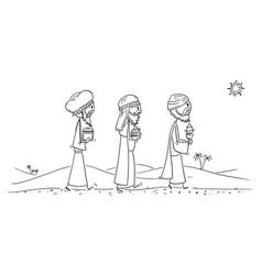 cartoon three wise men or kings or biblical vector image