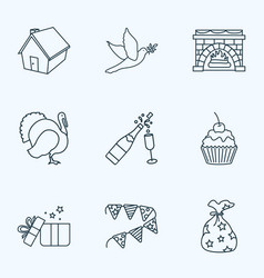 Celebration icons line style set with gifts vector