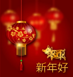 chinese new year pig lunar greeting card vector image