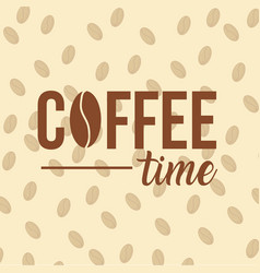 Coffee time frame with beans vector