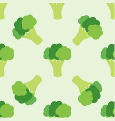 Colorful seamless cartoon flat broccoli pattern vector