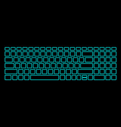 Computer keyboard with neon backlight on black vector