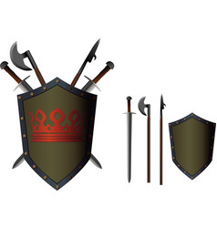 crossed weapon shield vector image