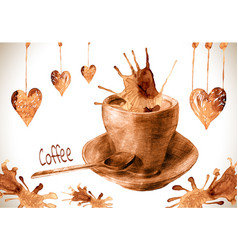 cup drawn pour coffee with splashes and blots vector image