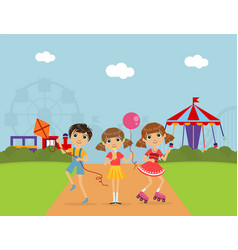 cute children at amusement park summer landscape vector image