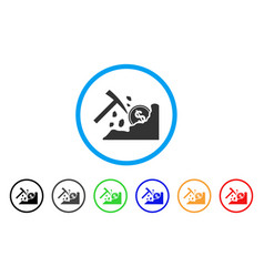 Dollar mining hammer rounded icon vector