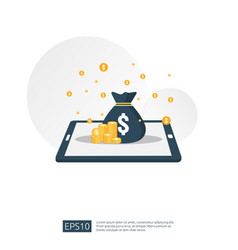 dollar pile stack and money bag on smartphone vector image
