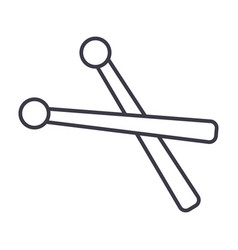 drumsticks line icon sign on vector image