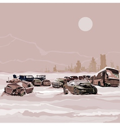 Dump wrecked cars nuclear winter postapokalipsisa vector
