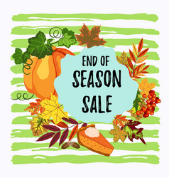 End of season sale autumn design vector