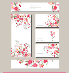 floral spring templates with cute bunches of red vector image