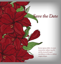 flower invitation save date card template vector image