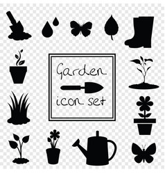 gardening icons set isolated on transparent vector image