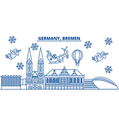 Germany bremen winter city skyline merry vector