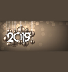 gold festive 2019 new year banner with christmas vector image