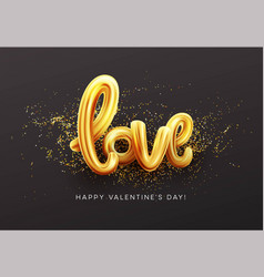 Gold letter love balloons shine glossy metallic vector