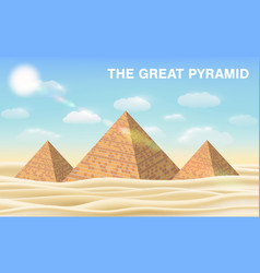 Great pyramid giza in desert vector