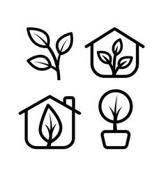 greenhouse icon set vector image