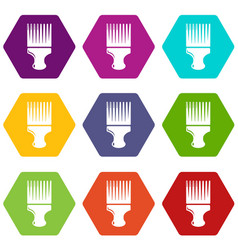 haircut fix comb icons set 9 vector image