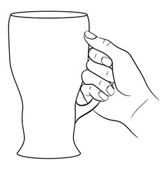 Hand holding a glass of beer on white background vector