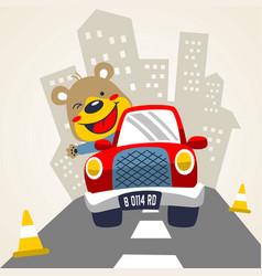 happy animal driving car cartoon vector image