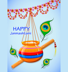 happy krishna janmashtami greeting post card vector image