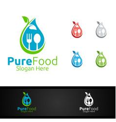 healthy food logo for restaurant or cafe vector image