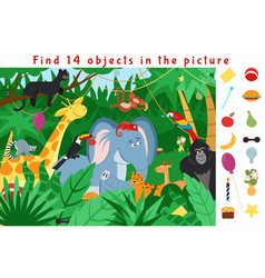 hidden object puzzle kid learning game find vector image