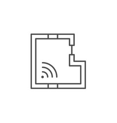 home wi fi signal line icon vector image