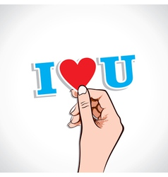 i love you word in hand vector image