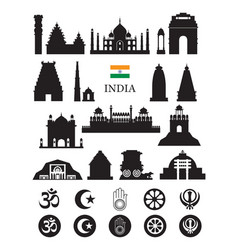 India objects icons silhouette vector