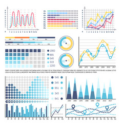 infographics and charts with curves data analysis vector image