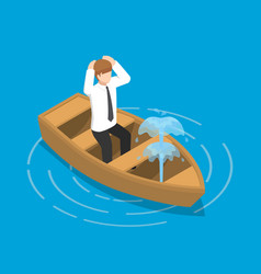Isometric businessman sitting in leaking boat vector