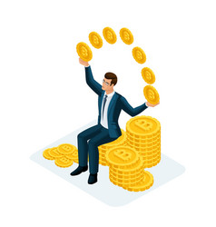 isometric businessman sitting on a big pile mo vector image