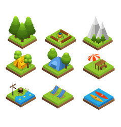 Isometric traveling camping collection vector