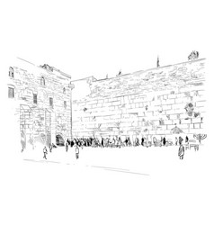 israel jerusalem wall of tears vector image