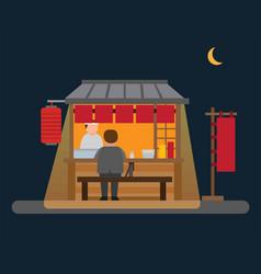 Japanese food stall street vendor in night flat vector