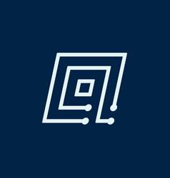 letter q font maze italic geometric vector image