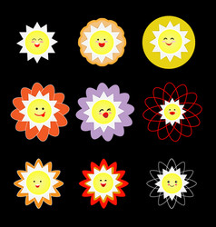 lovely colorful suns on black background vector image