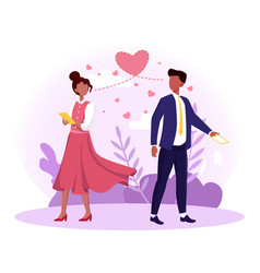 man and woman falling in love at first sight vector image